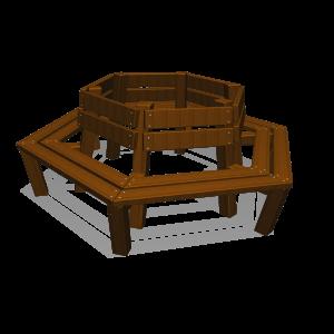 Treenbench in hexagin with backrest PKNE040.036