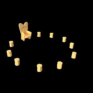 Voorleestroon met tien krukjes PKN.ROB.204