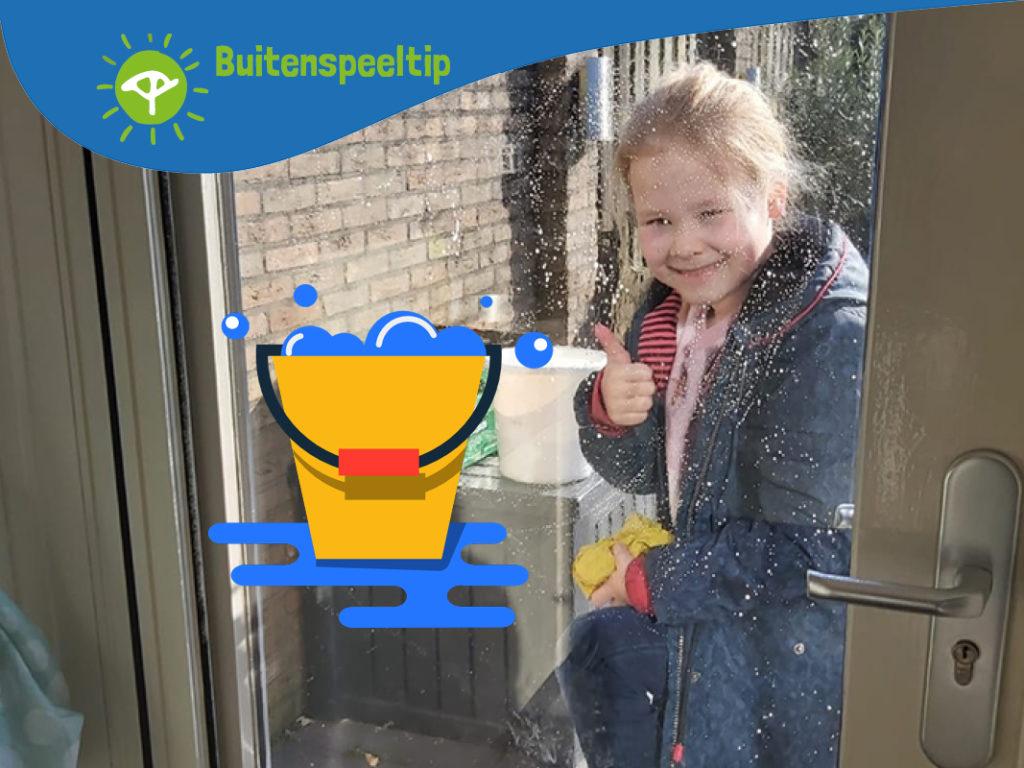 buitenspeeltip klusjes doen ramen wassen